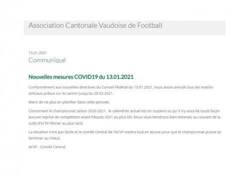 Communiqué ACVF 15.1.21